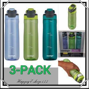 Contigo Autoseal Water Bottles, AutoSeal, 3-Pack